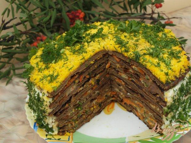 Фото приготовление рецепта: Печёночный торт с грибами шаг №9