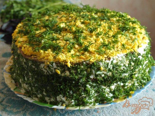 Фото приготовление рецепта: Печёночный торт с грибами шаг №8