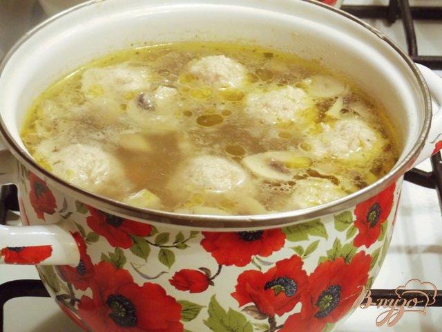 Фото приготовление рецепта: Суп с фрикадельками и грибами шаг №4