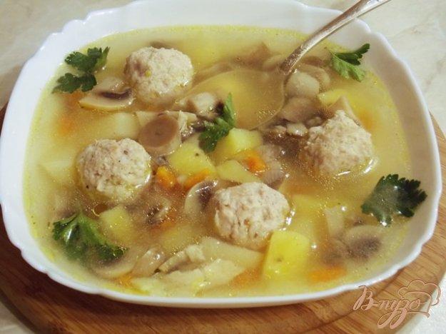 фото рецепта: Суп с фрикадельками и грибами