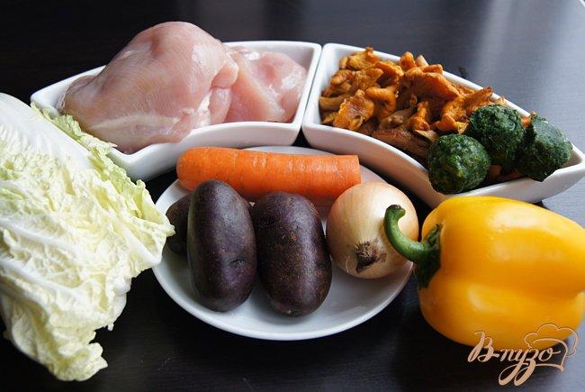 Фото приготовление рецепта: Суп с овощами, грибами и фрикадельками шаг №1