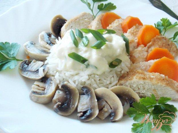 """Рецепт Куриная грудка с рисом и грибами """" Рыцарский замок"""""""