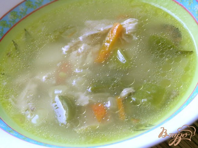 Фото приготовление рецепта: Куриный суп с лоби шаг №7