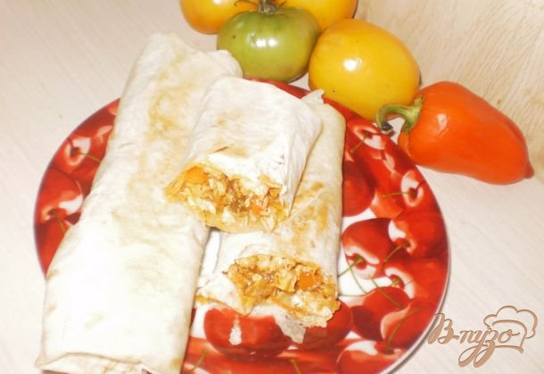 Рецепт Курица с овощами в лаваше