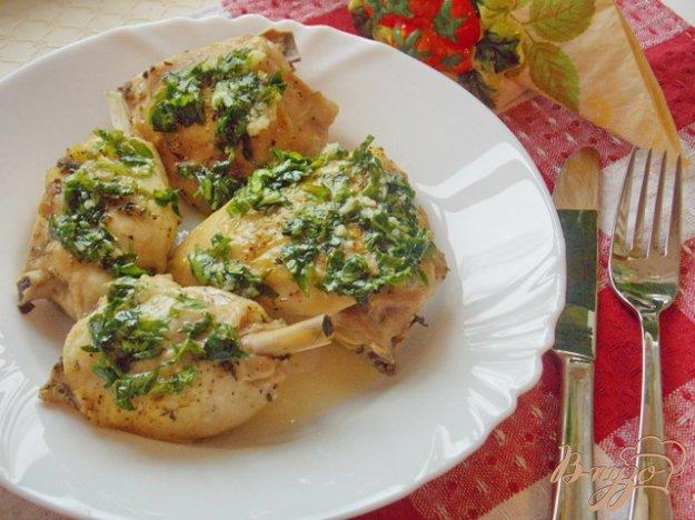Рецепт Курица в рукаве с чесночным соусом
