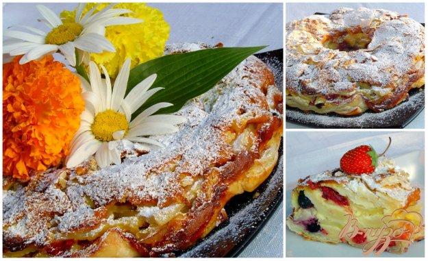 Рецепт Яблочно-ягодный пирог-десерт с заливкой