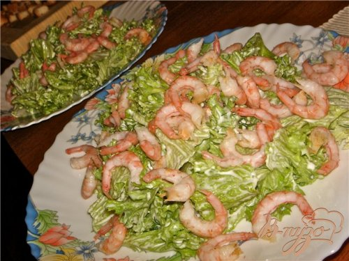 Воздушный салат с креветками