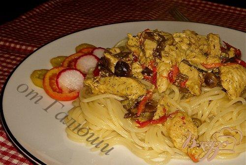 Спагетти с индейкой и грибами