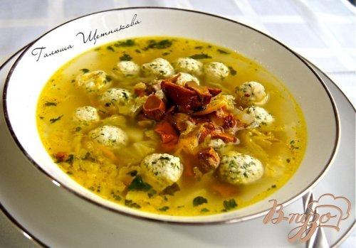 Суп с овощами, грибами и фрикадельками