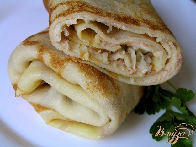 Рецепт Блины с паштетом и сыром