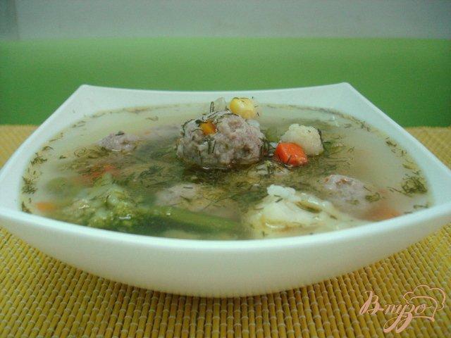 Фото приготовление рецепта: Овощной суп с фрикадельками шаг №6