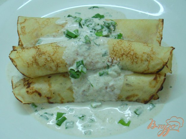 Рецепт Блины с картошкой и соусом из салаки