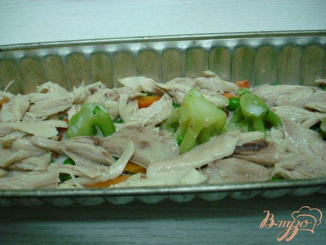 Фото приготовление рецепта: Заливное с курицей и овощами. шаг №5