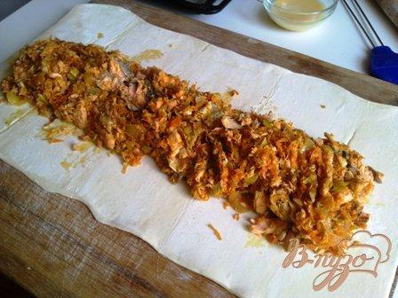 Пирог с горбушей и овощами