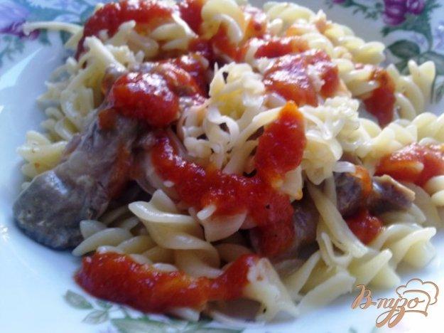 Рецепт Rotini (спиральки) с тушеными куриными желудочками