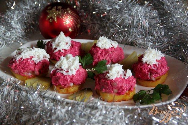 Рецепт Новогодняя мини-закуска Сельдь под шубкой на картофеле