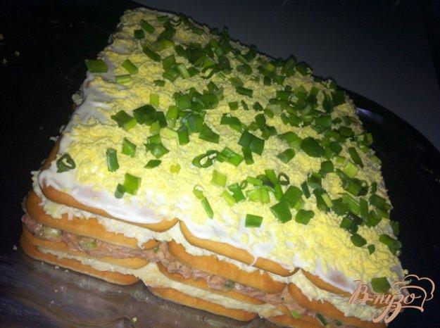 Рыбный торт с крекером