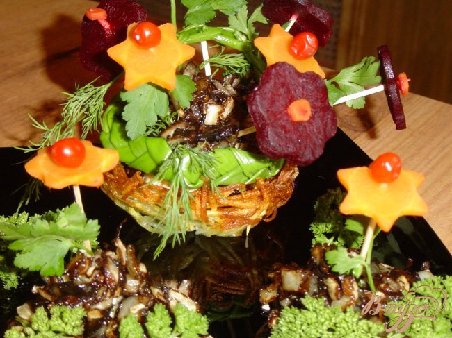 Фото приготовление рецепта: Грибное рагу c вареными овощами