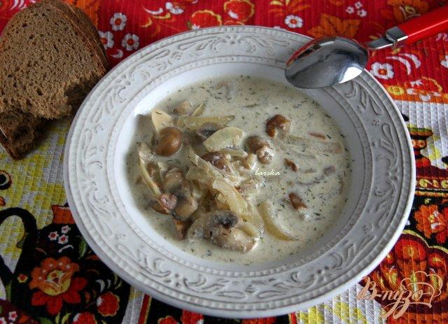 Фото приготовление рецепта: Бархатный грибной суп шаг №7