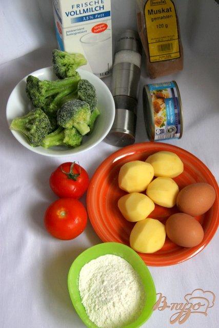 Запеканка из картофеля и брокколи с тунцом