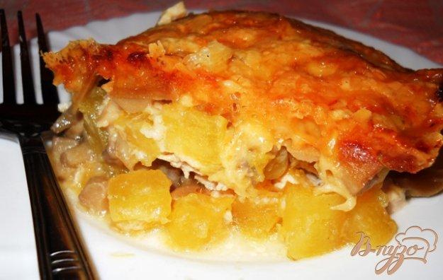 Рецепт Куриная запеканка с шампиньонами и зимним кабачком