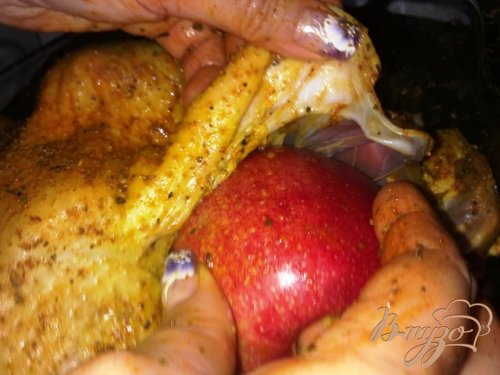 Рождественский гусь с яблоками