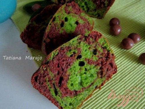 Мраморный кекс (шоколад-шпинат)