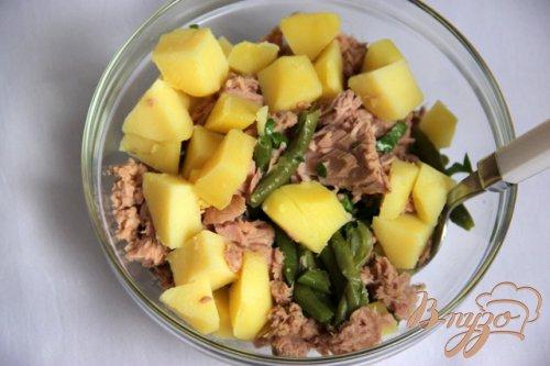 Ensalada de verano  Салат из спаржевой фасоли, картофеля, тунца