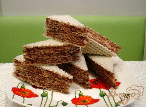Вафельный тортик с шоколадным кремом
