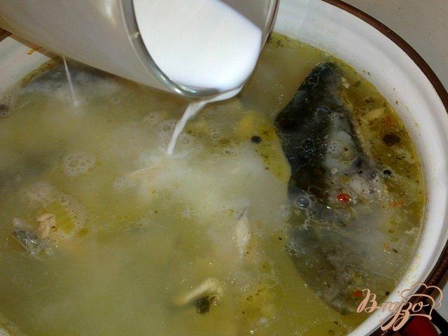 Фото приготовление рецепта: Сливочный рыбный суп с мидиями шаг №6