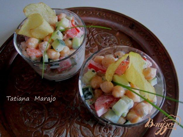 Рецепт Салат из свежих овощей и гороха нут