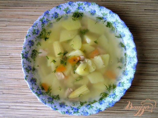 фото рецепта: Суп с тунцом и молодой кукурузой