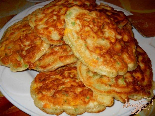 Рецепт Оладьи с консервированой кукурузкой и зеленым луком