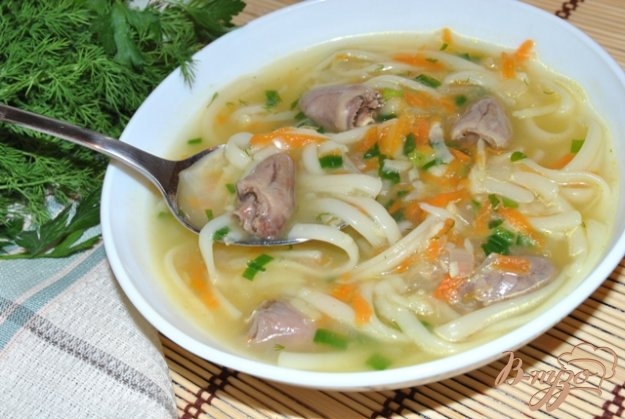 Рецепт Суп-лапша с куриными сердечками