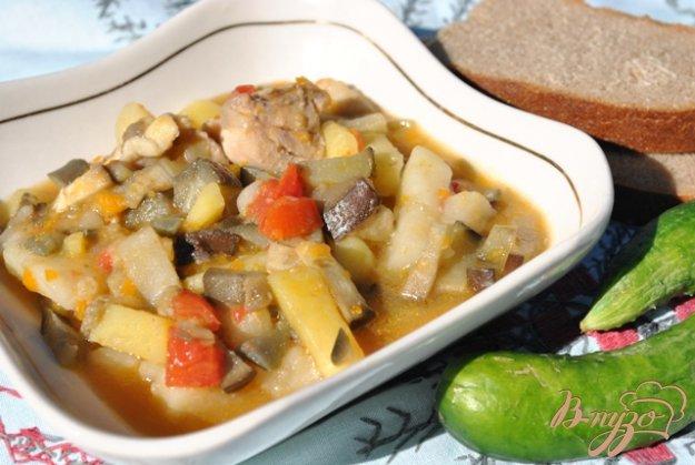 Рецепт Картофель тушеный с баклажанами и болгарским перцем