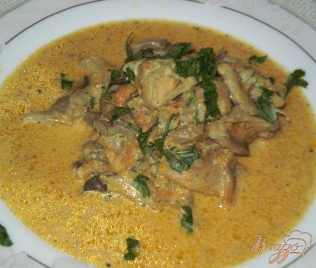 Фото приготовление рецепта: Курица тушеная с овощами и грибами шаг №8