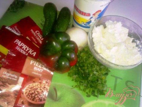 Закуска из творога с овощами.