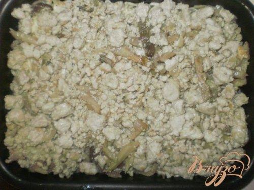 Запеканка из спагетти с мясом и грибами