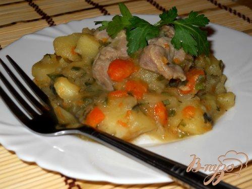 Ароматный картофель с мясом и зеленью