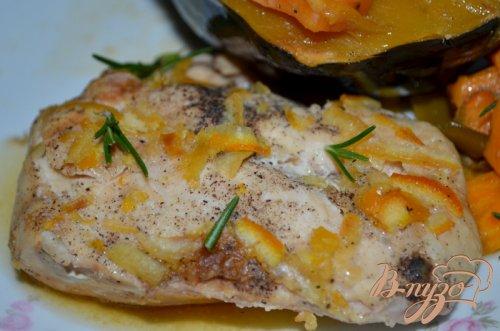 Куриные грудки в апельсиново-кленовом сиропе с овощами