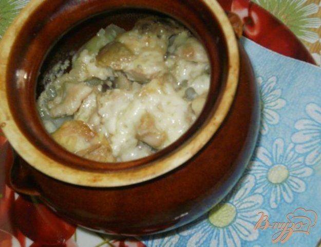 Рецепт Мясо с шампиньонами и картофелем в горшочках
