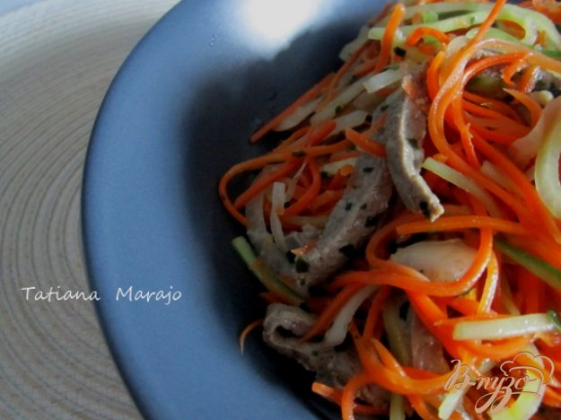 Рецепт Морковный салат с говяжей печенью