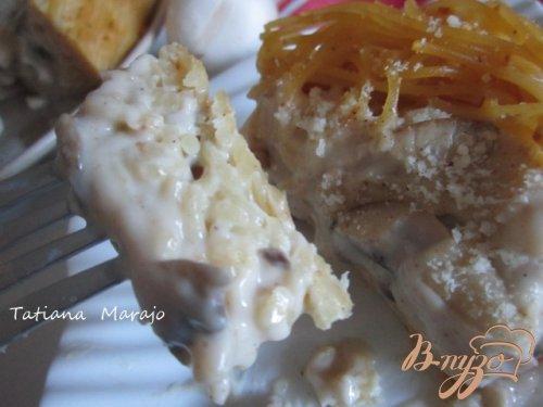 Макаронный пирог с грибами