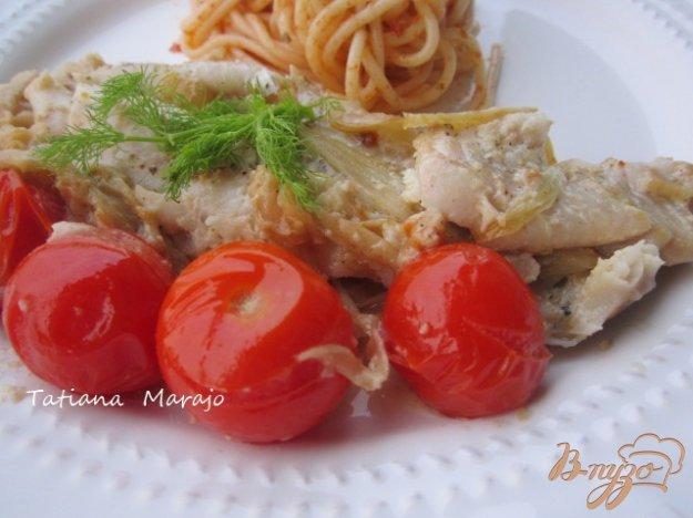 Рецепт Филе скумбрии с фенхелем и томатами.
