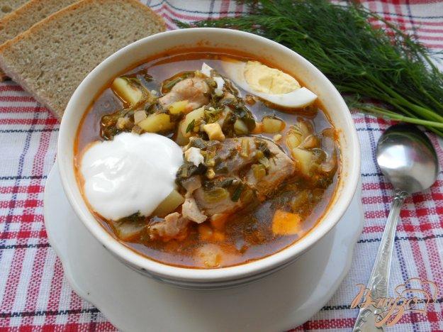 Рецепт Зеленый борщ с курицей и томатом