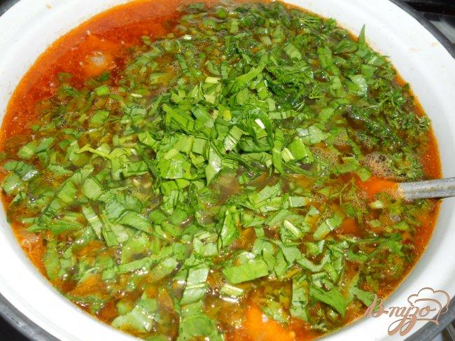 Фото приготовление рецепта: Зеленый борщ с курицей и томатом шаг №4