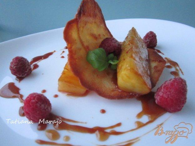 Рецепт Тюиль с кусочками ананаса в карамели