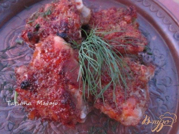 фото рецепта: Куриные бедрышки в горчично-персиковой глазури