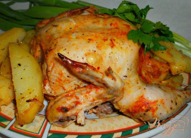 Рецепт Цыпленок в сметанно-томатном соусе, запеченный в рукаве с картофелем