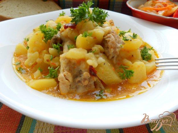 Рецепт Картофель, тушеный с курицей в соусе